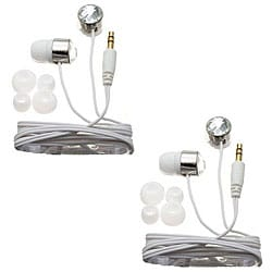 Nemo Digital White Crystal Stud Earbud Headphones (Case of 2)