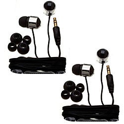 Nemo Digital Black Crystal Stud Earbud Headphones (Case of 2)
