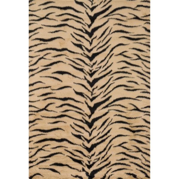 Jungle Faux Fur Tiger Print Animal Rug 2 X 3