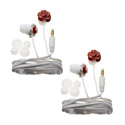 Nemo Digital Red/ White Enamel Flower Earbud Headphones (Case of 2)