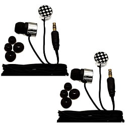 Nemo Digital Black/ White Checkerboard Earbud Headphones (Case of 2)