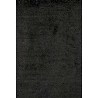 Jungle Black Faux Sheepskin Rug (2' x 3')
