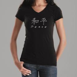 Los Angeles Pop Art Women's Chinese Peace V-neck Tee