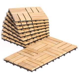 Le Click Teak Interlocking Natural Finish Deck Tiles (Set of 10)