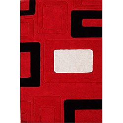 Alliyah Handmade Red New Zealand Blend Wool Rug (5' x 8')