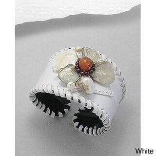 White/ Black/ Brown/ Red Leather Flower Gemstone Cuff Bracelet (Thailand)