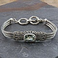 Sterling Silver and Green Amethyst 'Cawi' Toggle Bracelet (Indonesia)