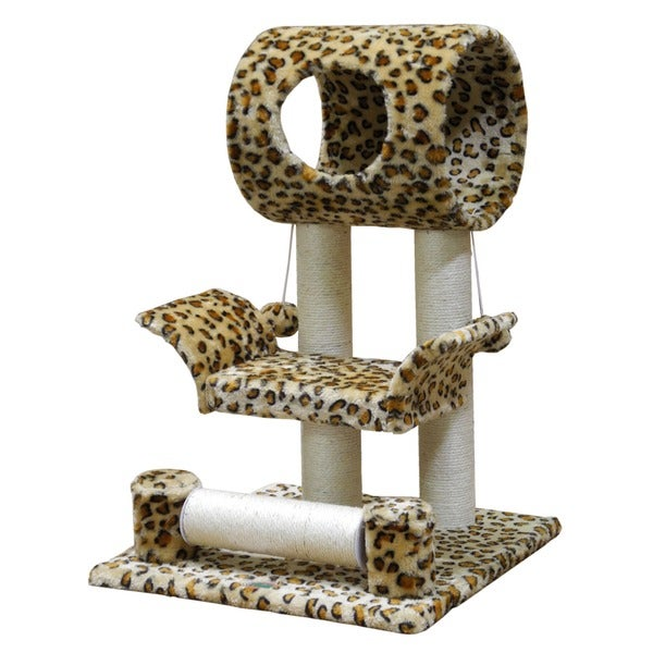 28-inch Leopard Print Cat Tree with Scratching Posts