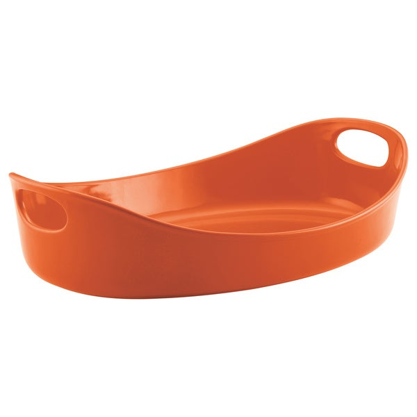 Rachael Ray Stoneware Bubble and Brown 4.5-quart Large Oven Oval, Orange