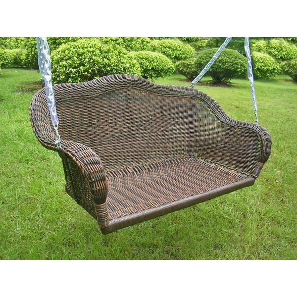 Caravan Valencia Resin Wicker Steel Frame Hanging Single Chair Swing