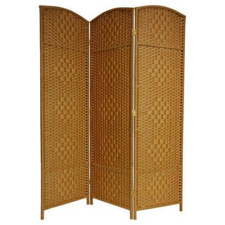 Handmade 6' Wood and Fiber Diamond Weave Room Divider