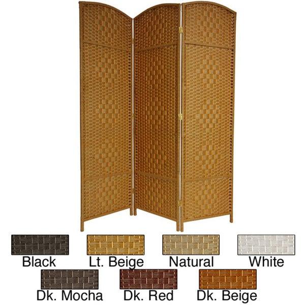 Wood/Fiber Diamond Weave 6-foot Room Divider (China)