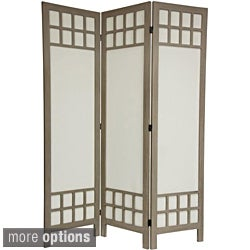 Wood/ Cotton Fabric Window Pane 5.5-foot Room Divider (China)