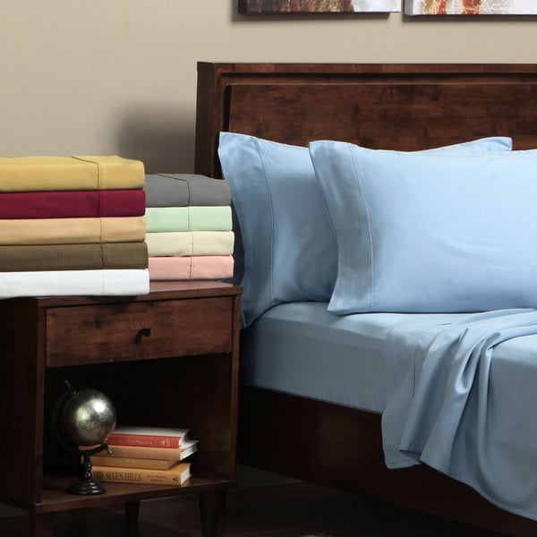 Egyptian Cotton 300-Thread-Count Sateen Queen Waterbed Solid Sheet Set (As Is Item)
