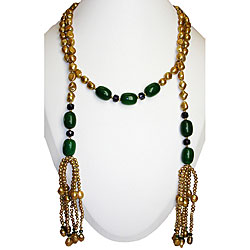 Pearl, Jade and Dyed Crystal Necklace (4-10 mm)