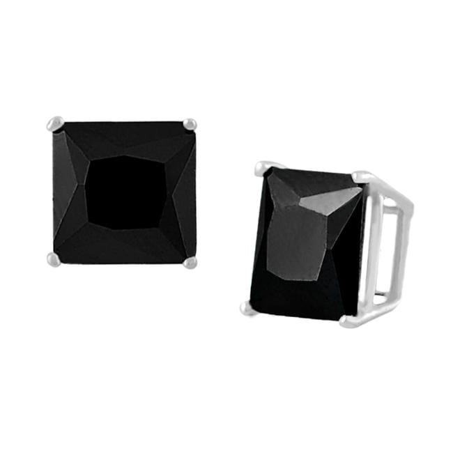 Journee Collection Sterling Silver Square Black 5mm CZ Stud Earrings