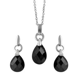 Tressa Sterling Silver Black Drop Necklace and Earring Set