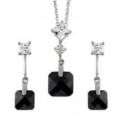 Tressa Sterling Silver Black Necklace and Earring Set