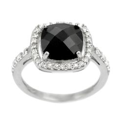 Tressa Sterling Silver Black Cushion-cut Cubic Zirconia Ring