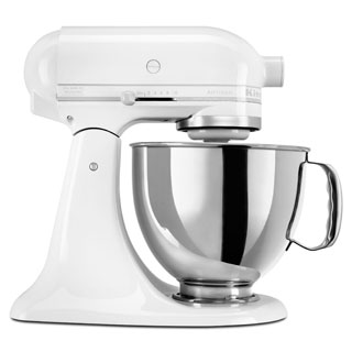 KitchenAid KSM150PSWW White on White 5-quart Stand Mixer *plus Overstock $30 gift card and $30 KitchenAid mail-in rebate
