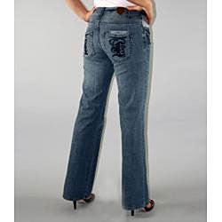 Institute Liberal Women's Medium Blue Stretch Logo Pocket Jeans