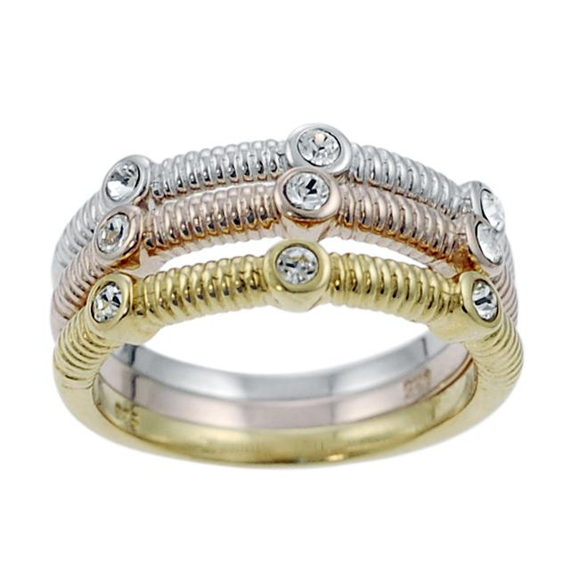 Journee Collection Sterling Silver, Gold and Copper Plated CZ Ring
