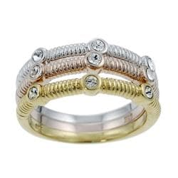 Tressa Sterling Silver, Gold and Copper Plated CZ Ring