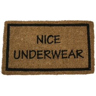 Hand-woven 'Nice Underwear' 18x30 Coconut Fiber Doormat
