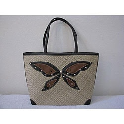 Handmade Pandanus Butterfly Tote Bag (Indonesia)