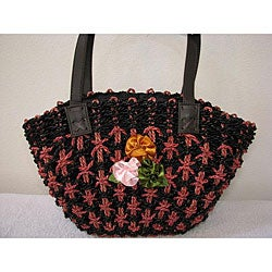 Handmade Salem Black Agel 3-flower Bag (Indonesia)