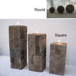 Set of 3 Lava Stone Candle Holders (Indonesia)