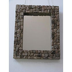 Handmade Lava Stone Mirror (Indonesia)