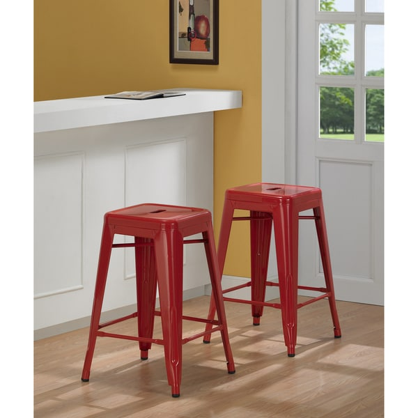 Tabouret 24-inch Red Metal Counter Stools (Set of 2)