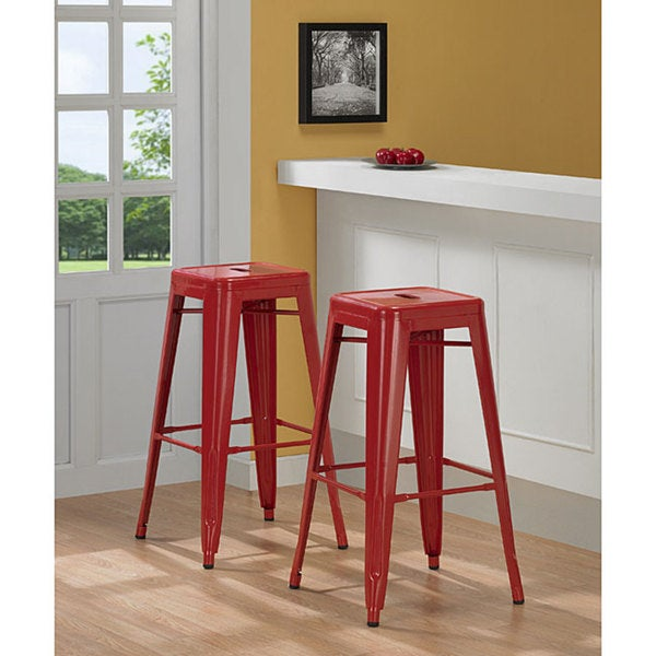 Tabouret 30 Inch Red Metal Bar Stools Set Of 2