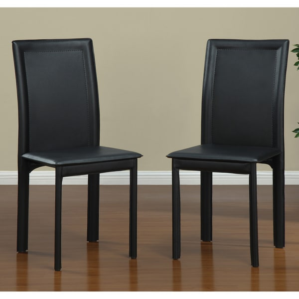 Black Vinyl Dining Chairs (Set of 4)