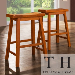 Tribecca Home Salvador Saddle Back 24 Inch Oak Stools Set