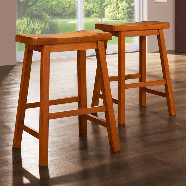 Tribecca Home Salvador Saddle Back 24 Inch Oak Stools Set