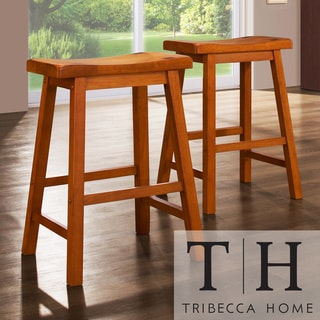 TRIBECCA HOME Salvador Saddle Back 24-inch Oak Stools (Set of 2)