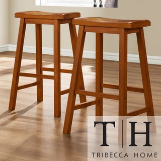 TRIBECCA HOME Salvador Saddle Back 29-inch Oak Stools (Set of 2)