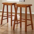 ETHAN HOME Salvador Saddle Back 29-inch Oak Stools (Set of 2)