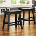 TRIBECCA HOME Salvador Saddle Back 18-inch Stool in Black Sand-Through (Set of 2)