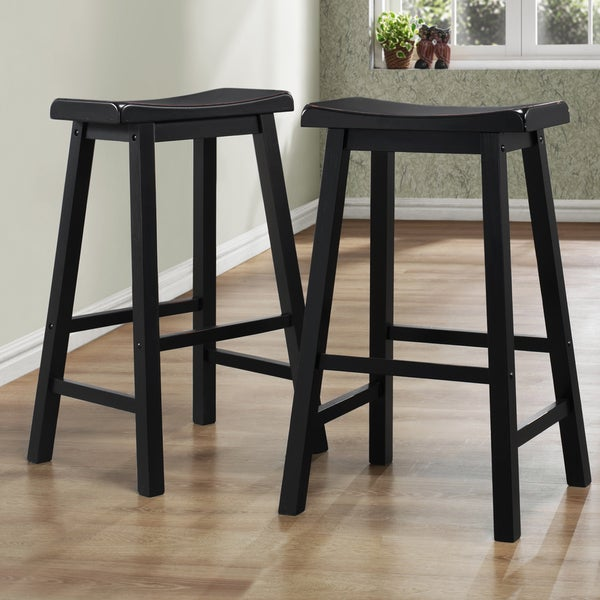 wood bar stools stool set of 2 black wooden backless counter chair distressed. Black Bedroom Furniture Sets. Home Design Ideas
