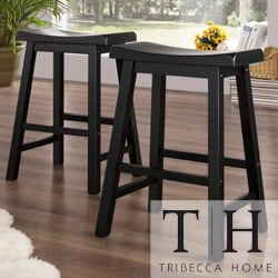 TRIBECCA HOME Salvador Saddle Back 24-inch Stool in Black Sand-Through (Set of 2)