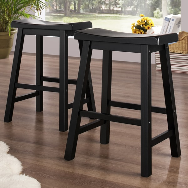 Tribecca Home Salvador Saddle Back 24 Inch Stool In Black