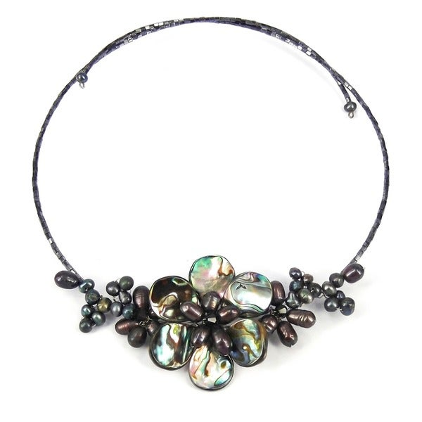 Memory Wire Black Pearl Cluster Flower Choker (Thailand)