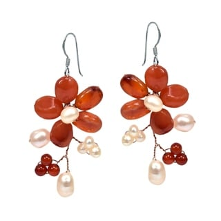 Silver and Copper 'Dreamy Sakura Flower' Agate and Pearl Earrings (Thailand)