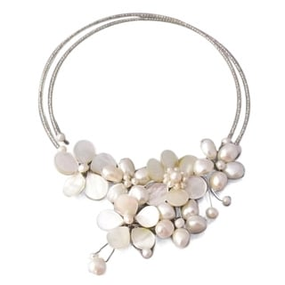 Memory Wire White Pearl Cluster Flower Choker (Thailand)