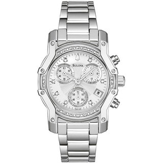 96R138 Bulova Women's Stainless Steel Diamond Accent Watch