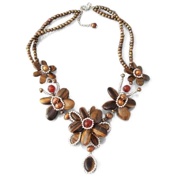 Sterling Silver Brown Tiger's Eye and Freshwater Pearl Necklace (Thailand)
