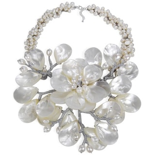 Sterling Silver Pearl and Mother of Pearl Colossal Floral Necklace (Thailand)